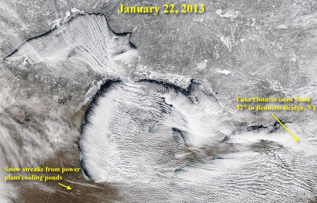 Satellite view of steaming great lakes